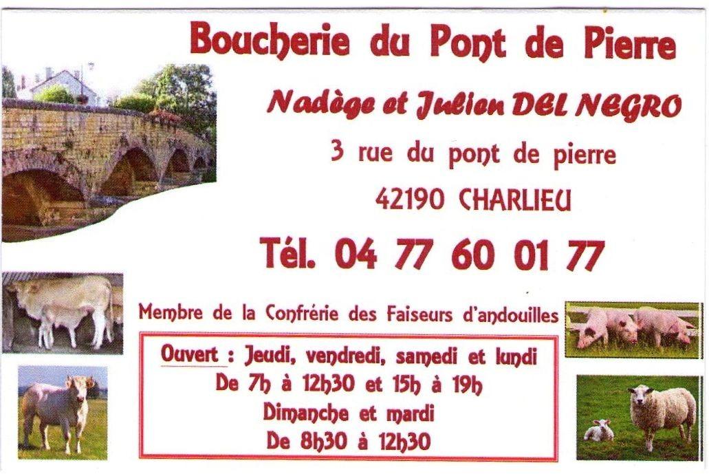 Carte Boucherie du Pont de Pierre